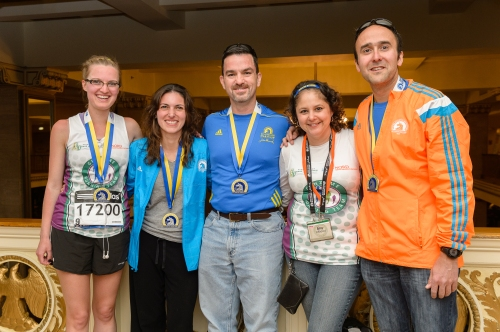 With fellow Running for Rare Diseases Board Members (Jessi, Kai, Phil, me and Andrew; Not pictured - Shay and Marissa) after all - except me - finished the Boston Marathon...
